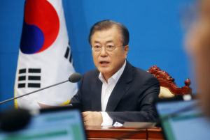 South Korean President Moon Jae-in speaks during an irregular cabinet meeting at the Presidential Blue House in Seoul, South Korea, August 2, 2019. Photo by Yonhap via Reuters