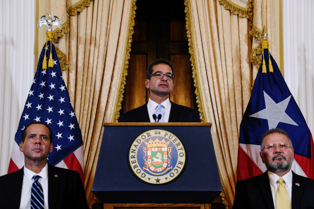 Pedro Pierluisi holds a news conference after his swearing in as go…