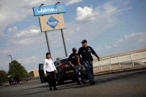 Police is seen after a mass shooting at a Walmart in El Paso, Texas, on August 3, 2019. Photo by Jose Luis Gonzalez/Reuters