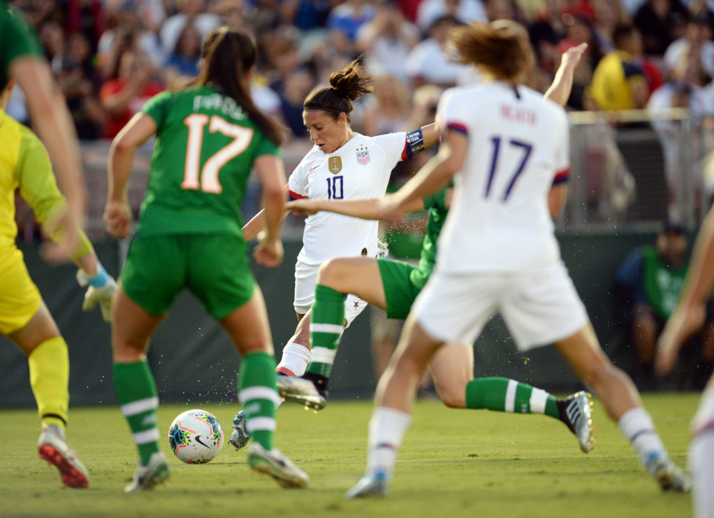 USA forward Carli Lloyd (10) moves in for a shot on goal against Ireland during the first half of the U.S. Women's National Team Victory Tour soccer match at Rose Bowl on Aug 3, 2019 in Pasadena, California. Credit: Gary A. Vasquez-USA TODAY Sports