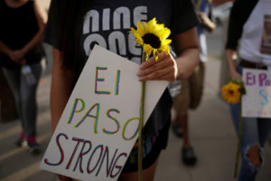People take part in a rally against hate a day after a mass shooting at a Walmart store, in El Paso, Texas, U.S. August 4, 2019. Photo by: Jose Luis Gonzalez/Reuters