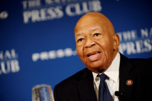 "FILE PHOTO: House Oversight and Government Reform Chairman Elijah Cummings (D-MD) addresses a National Press Club luncheon on his ""committee's investigations into President Donald Trump and his administration,"" in Washington, U.S., August 7, 2019. Photo by Mary F. Calvert/Reuters"