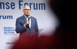 2020 Democratic U.S. presidential candidate and Washington Governor Jay Inslee speaks during the Presidential Gun Sense Forum in Des Moines, Iowa, on August 10, 2019. Inslee has now dropped out of the presidential race. Photo by Scott Morgan/Reuters