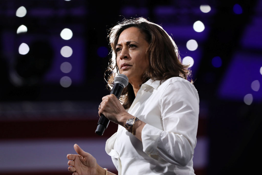 2020 Democratic U.S. presidential candidate and U.S. Senator Kamala Harris speaks during the Presidential Gun Sense Forum in Des Moines, Iowa, on August 10, 2019. Photo by Scott Morgan/Reuters