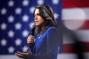 2020 Democratic U.S. presidential candidate and U.S. Rep. Tulsi Gabbard speaks during the Presidential Gun Sense Forum in Des Moines, Iowa, on August 10, 2019. Photo by Scott Morgan/Reuters