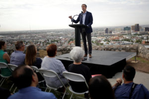 Democratic 2020 U.S. presidential candidate Beto O'Rourke addresses the nation in El Paso, Texas, on August 15, 2019. Photo by Jose Luis Gonzalez/Reuters