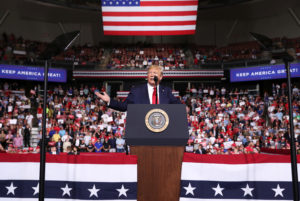 President Donald Trump rallies with supporters in Manchester, New Hampshire on August 15, 2019. Photo by Jonathan Ernst/Reuters