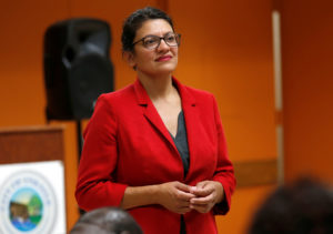 U.S. Congresswoman Rashida Tlaib listens to a question from a constituent during a Town Hall style meeting in Inkster, Michigan, on August 15, 2019. Photo by Rebecca Cook/Reuters