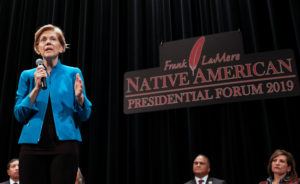 U.S. 2020 Democratic presidential candidate and U.S. Senator Elizabeth Warren speaks at the Frank LaMere Native American Forum while campaigning in Sioux City, Iowa, on August 19, 2019. Photo by Alex Wroblewski/Reuters