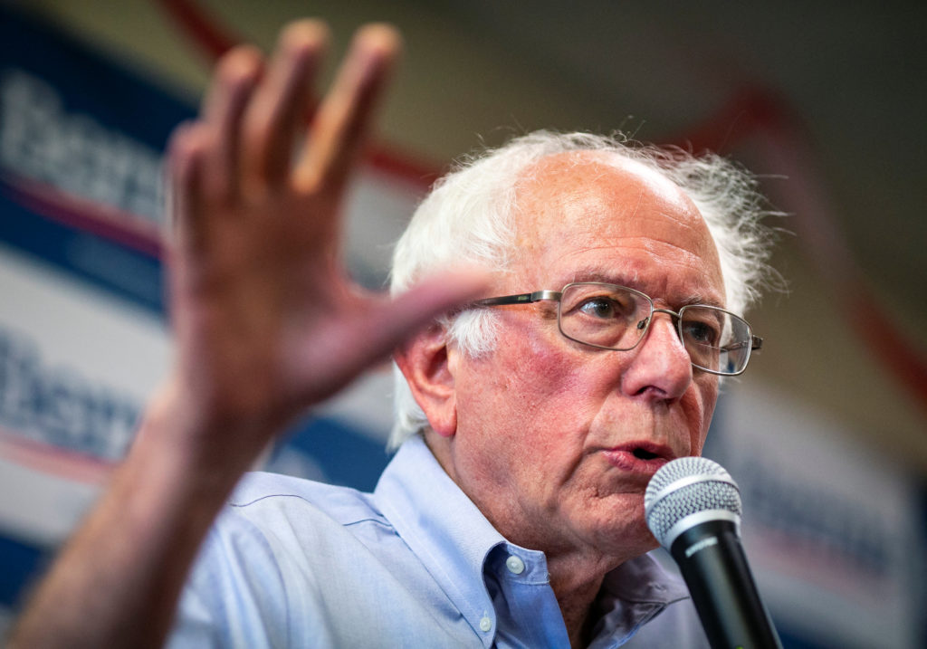 2020 Democratic U.S. presidential candidate and U.S. Senator Bernie Sanders speaks during a campaign event at his campaign office in Davenport, Iowa, on August 19, 2019. Photo by Al Drago/Reuters