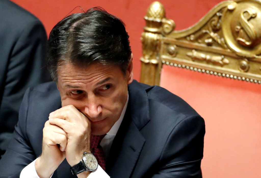 Italian Prime Minister Giuseppe Conte attends a session of the upper house of parliament over the ongoing government crisis, in Rome, Italy on August 20, 2019. Photo by Yara Nardi/Reuters