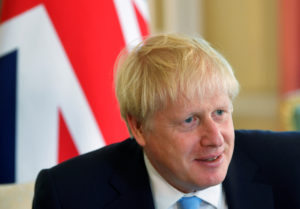 FILE PHOTO: Britain's Prime Minister Boris Johnson attends a meeting with King Abdullah II of Jordan (not pictured) at 10 Downing Street in London, Britain August 7, 2019. Photo by Toby Melville/Pool via Reuters