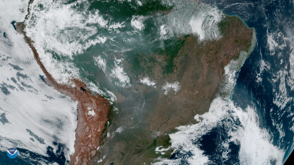 Fires, burning in the Amazon Rainforest, are pictured from space, captured by the geostationary weather satellite GOES-16 on August 21, 2019 in this handout image obtained from social media. Photo courtesy: NASA/NOAA/Handout via Reuters