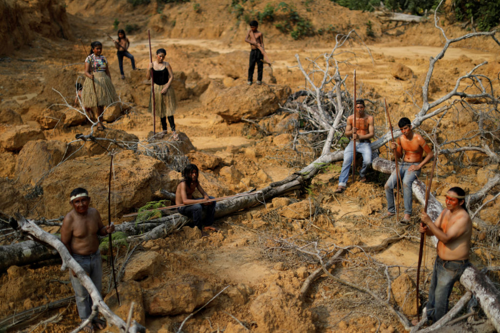 Indigenous people from the Mura tribe show a deforested area in unmarked indigenous lands inside the Amazon rainforest near Humaita, Amazonas State, Brazil on August 20, 2019. Photo by Ueslei Marcelino/Reuters
