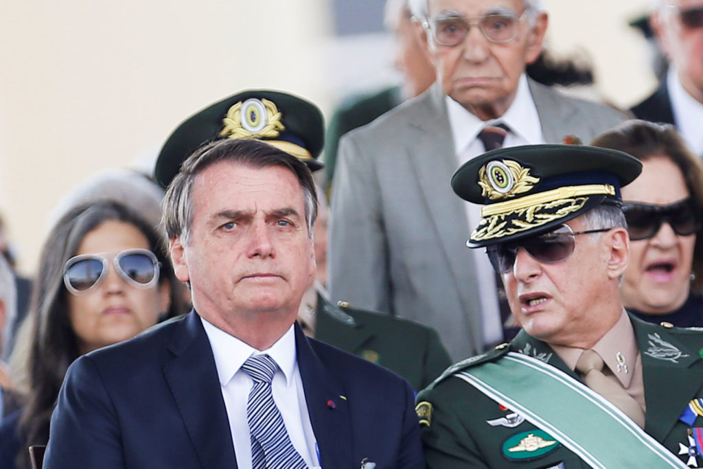Brazil's President Jair Bolsonaro looks on during a Soldier's Day ceremony, in Brasilia, Brazil on August 23, 2019. Photo by Adriano Machado/Reuters