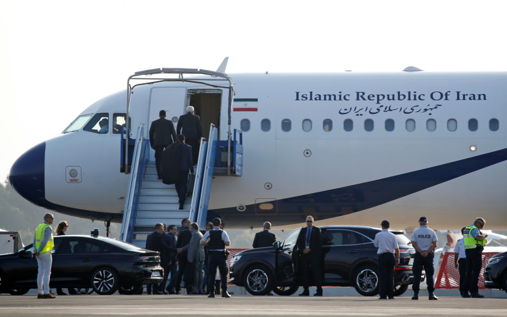 An Iranian government plane is seen on the tarmac at Biarritz airpo…