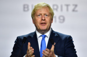 Britain's Prime Minister Boris Johnson speaks during a news conference at the end of the G7 summit in Biarritz, France, August 26, 2019. Photo by Dylan Martinez/Reuters