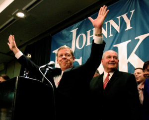 Senator-elect Johnny Isakson (left) reacts with Republican Georgia Governor Sonny Perdue at his side after being declared the winner of the Georgia U.S. Senate race in Atlanta November 2, 2004. Photo by Tami Chappell/Reuters