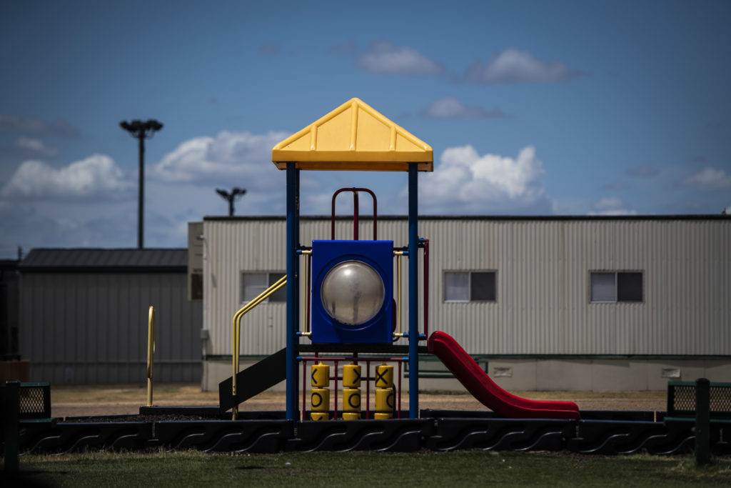 A playground is seen as U.S. Immigration and Customs Enforcement (ICE) and Enforcement and Removal Operations (ERO) hosts a media tour at the South Texas Family Residential Center, which houses families who are pending disposition of their immigration cases on Friday, Aug. 23, 2019 in Dilley, TX. (Photo by Jabin Botsford/The Washington Post via Getty Images)
