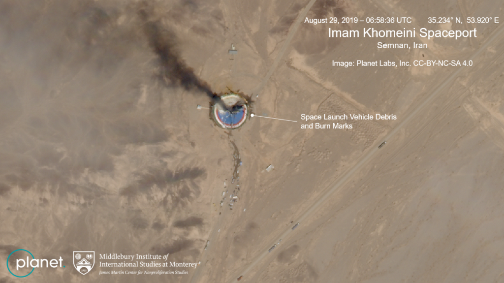 Image of the failure at the Imam Khomeini Space Launch Center. Phot…
