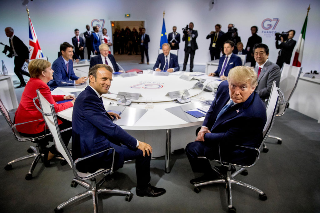 French President Emmanuel Macron and President Donald Trump partici…