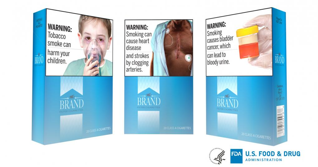 This undated image provided by the U.S. Food and Drug Administration shows proposed graphic warnings that would appear on cigarettes. The Food and Drug Administration on Thursday, Aug. 15, 2019, proposed 13 new large, graphic warnings that would appear on all cigarettes, including images of cancerous tumors, diseased lungs and bloody urine. Photo courtesy: FDA
