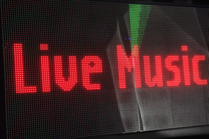 Digital sign spelling live music. Photo by Steve Cicero/via Getty Images