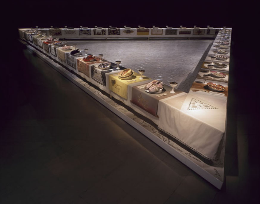 "View of ""The Dinner Party"" (1974-79) by Judy Chicago. Photo courtesy of Through the Flower Archives"