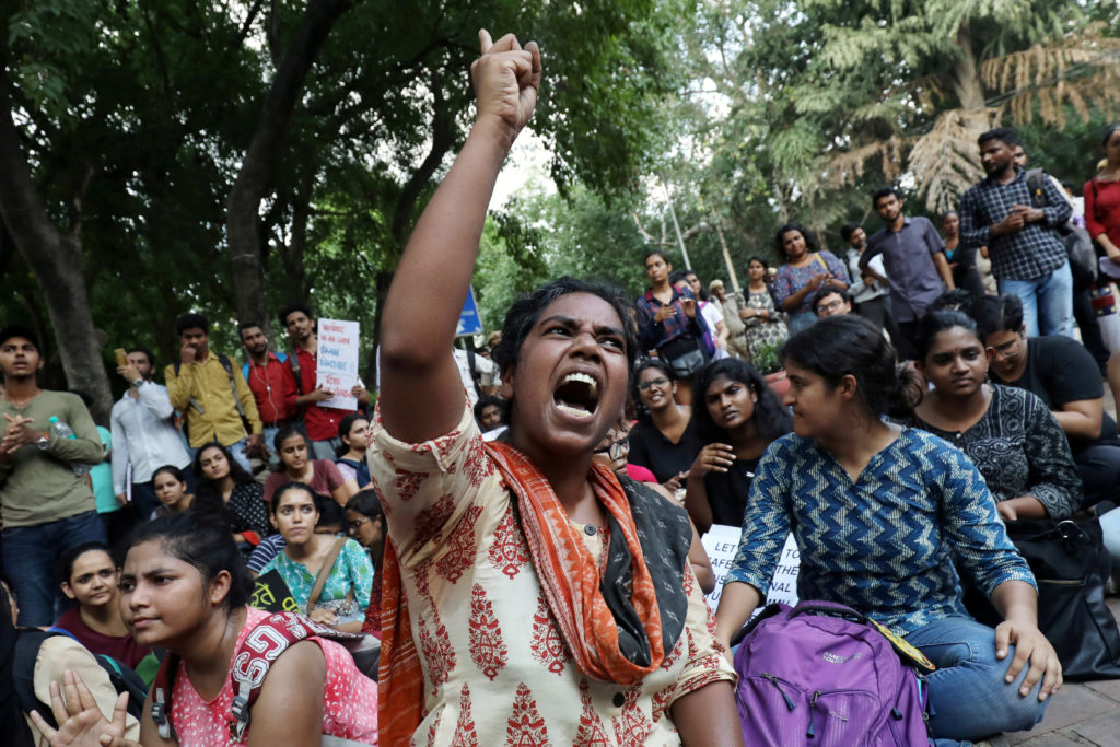 A student shouts slogans during a protest against the scrapping of the special constitutional status for Kashmir by the government, in New Delhi, India, August 8, 2019. Photo by REUTERS/Anushree Fadnavis