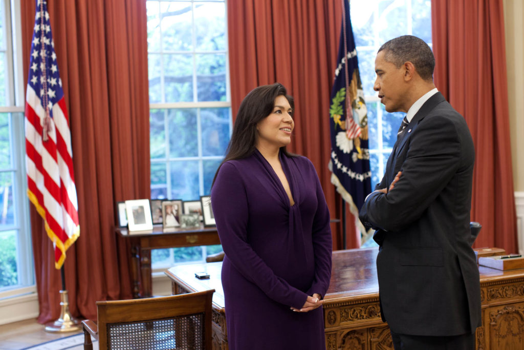 President Barack Obama talks with Kim Teehee, Senior Policy Advisor for Native American Affairs, in the Oval Office, April 26, 2012. (Official White House Photo by Pete Souza)