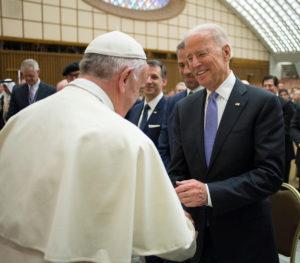 FILE PHOTO: Pope Francis meets U.S. Vice President Joe Biden (R) in Paul VI hall at the Vatican April 29, 2016 Photo courtesy Osservatore Romano/Handout via Reuters