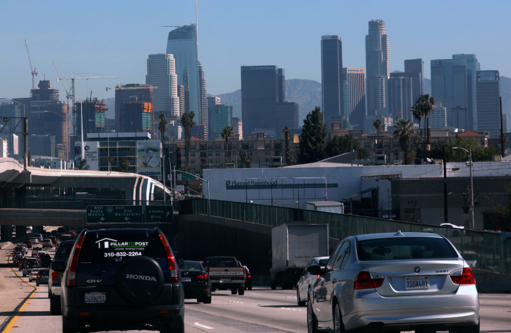 Highway traffic travels into Los Angeles, California, on March 29, 2017. Photo by Mike Blake/Reuters