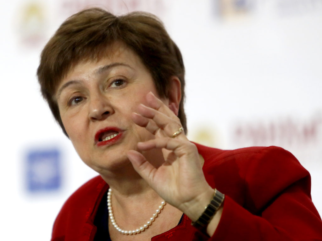 """World Bank Chief Executive Officer Kristalina Georgieva speaks during a session of the Gaidar Forum 2018 """"Russia and the World: values and virtues"""" in Moscow, Russia on January 17, 2018. Photo by Sergei Karpukhin/Reuters"""