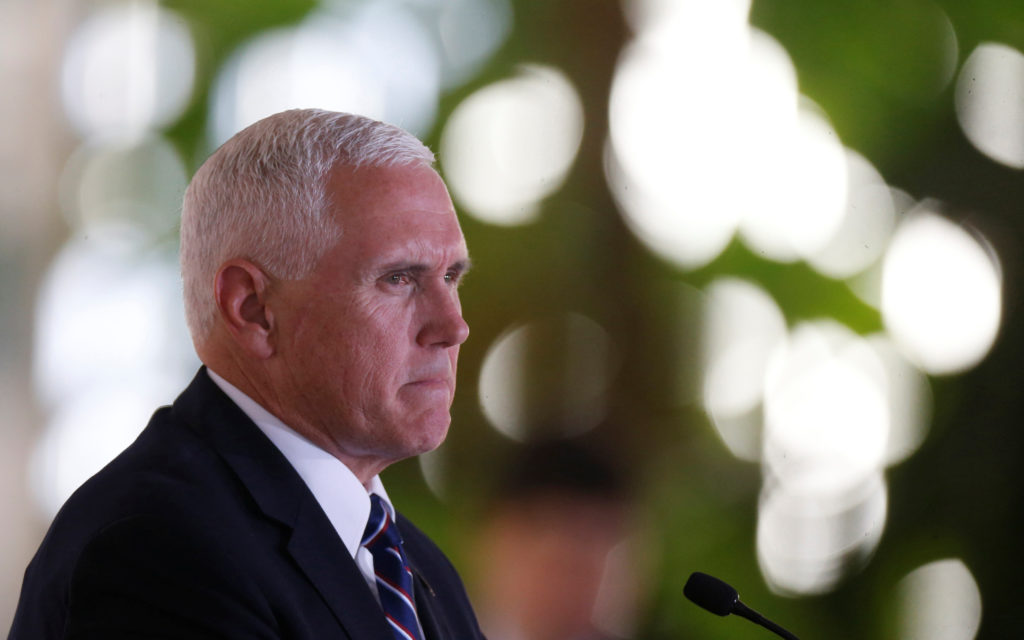 U.S. Vice President Mike Pence speaks at the Itamaraty Palace in Brasilia, Brazil on June 26, 2018. Photo Adriano Machado/Reuters