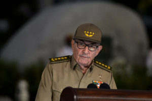 FILE PHOTO: Cuban First Secretary of Communist Party Raul Castro Ruz gives a speech, on January 01, 2019, during the celebration of 60th Anniversary of Cuban Revolution at Santa Ifigenia Cemetery in Santiago de Cuba. Photo by Yamil Lage/Pool via Reuters