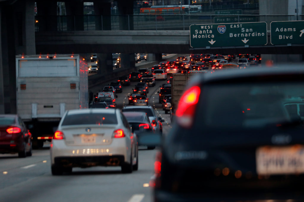 Morning commuters travel in rush hour traffic towards Los Angeles, California, U.S., March 20, 2019. Photo by Mike Blake/R...