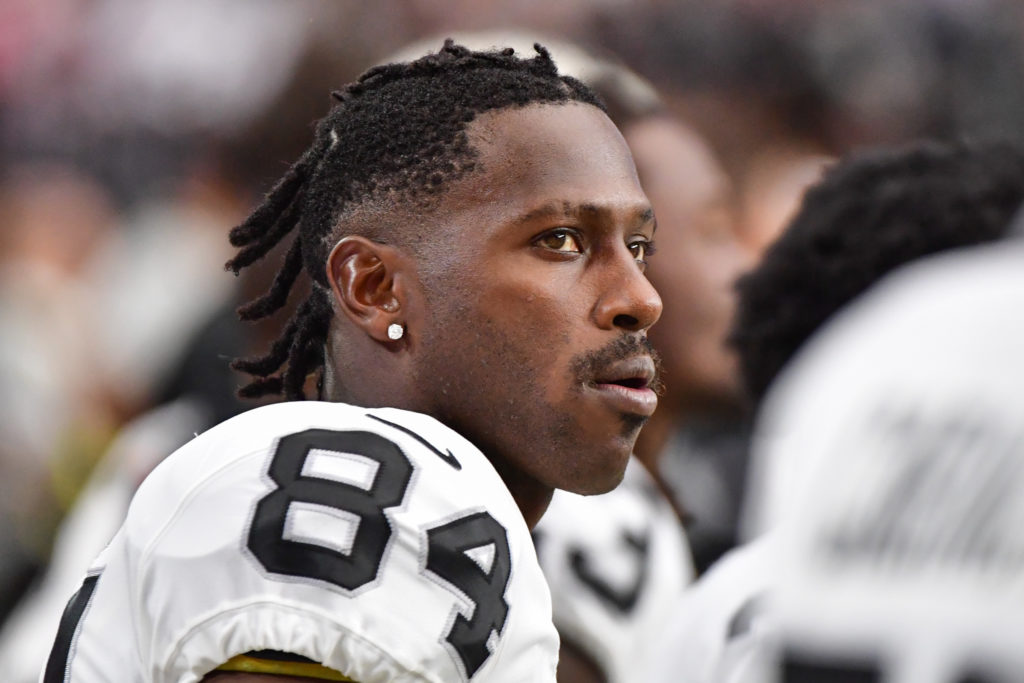 Former Oakland Raiders wide receiver Antonio Brown looks on during the first half against the Arizona Cardinals during a preseason game at State Farm Stadium on Aug. 15, 2019. Credit: Matt Kartozian-USA TODAY Sports