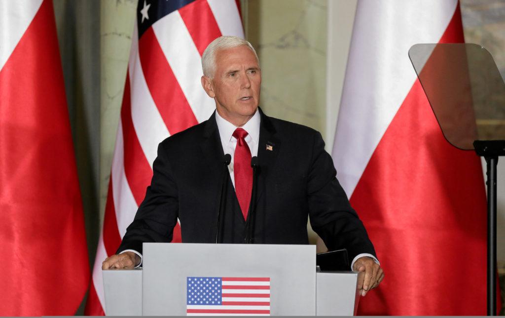 U.S. Vice President Mike Pence speak during a press conference in Warsaw, Poland September 2, 2019. Photo by: Slawomir Kaminski/Agencja Gazeta/Reuters