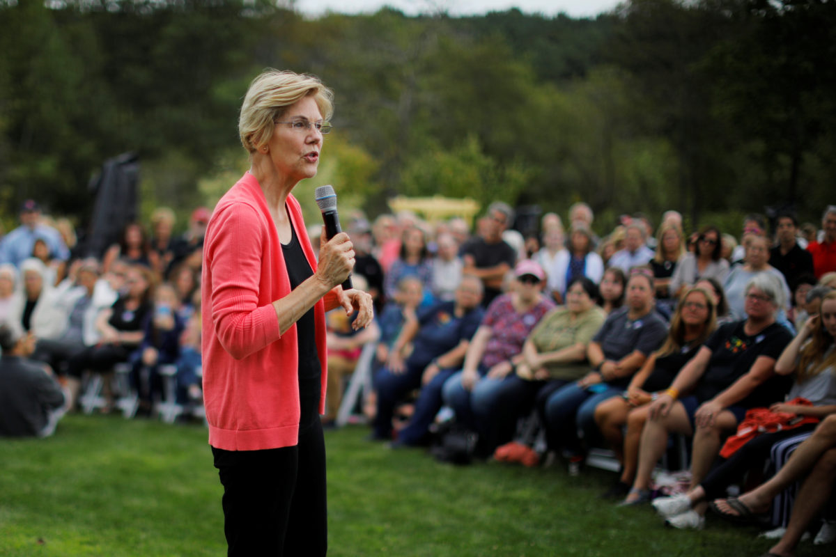 Democratic 2020 U.S. presidential candidate and U.S. Senator Elizabeth Warren (D-MA) speaks at a campaign house party in Hampton Falls, New Hampshire, U.S., September 2, 2019. Photo by Brian Snyder/Reuters