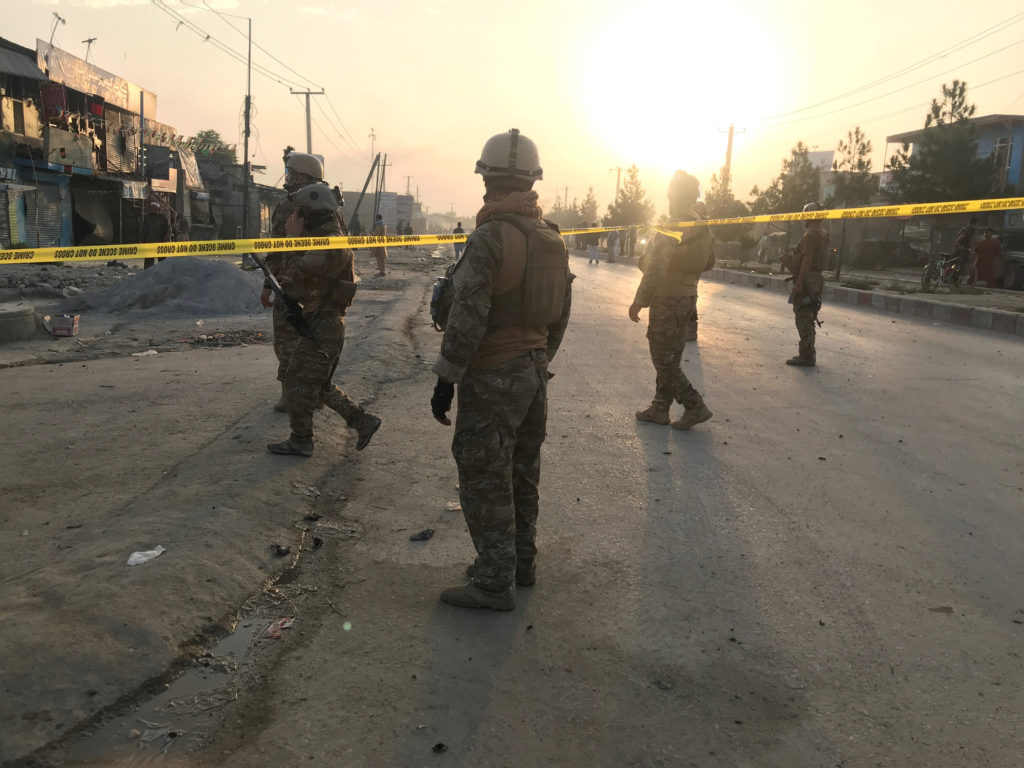 Afghan security forces keep watch at the site of a blast in Kabul, Afghanistan, September 3, 2019. Photo by Omar Sobhani/Reuters