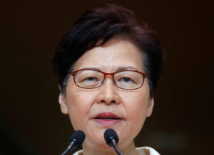 Hong Kong's Chief Executive Carrie Lam holds a news conference in Hong Kong, China, September 3, 2019. Photo by Kai Pfaffenbach/Reuters