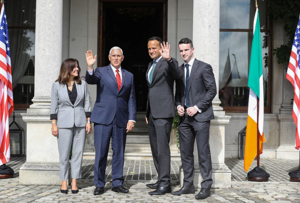 U.S. Vice-President Mike Pence and his wife Karen Pence pose for a photo with Irish Taoiseach (Prime Minister) Leo Varadkar and his partner Dr.Matt Barrett at Farmleigh House in Dublin, Ireland on September 3, 2019. Photo by Lorraine O'Sullivan/Reuters