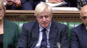 British Prime Minister Boris Johnson speaks in Parliament in London, Britain September 3, 2019, in this screen grab taken from video. Parliament TV via REUTERS