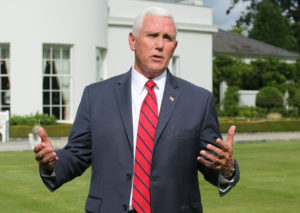 U.S. Vice-President Mike Pence speaks to the Press after a meeting with business leaders at the US Ambassador to Ireland Edward Crawford residence in Dublin, Ireland on September 3, 2019. Photo by Lorraine O'Sullivan/Reuters