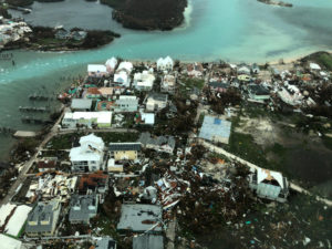 An aerial view shows devastation after hurricane Dorian hit the Abaco Islands in the Bahamas, September 3, 2019, in this image obtained via social media. Photo by Michelle Cove/Trans Island Airways/via Reuters