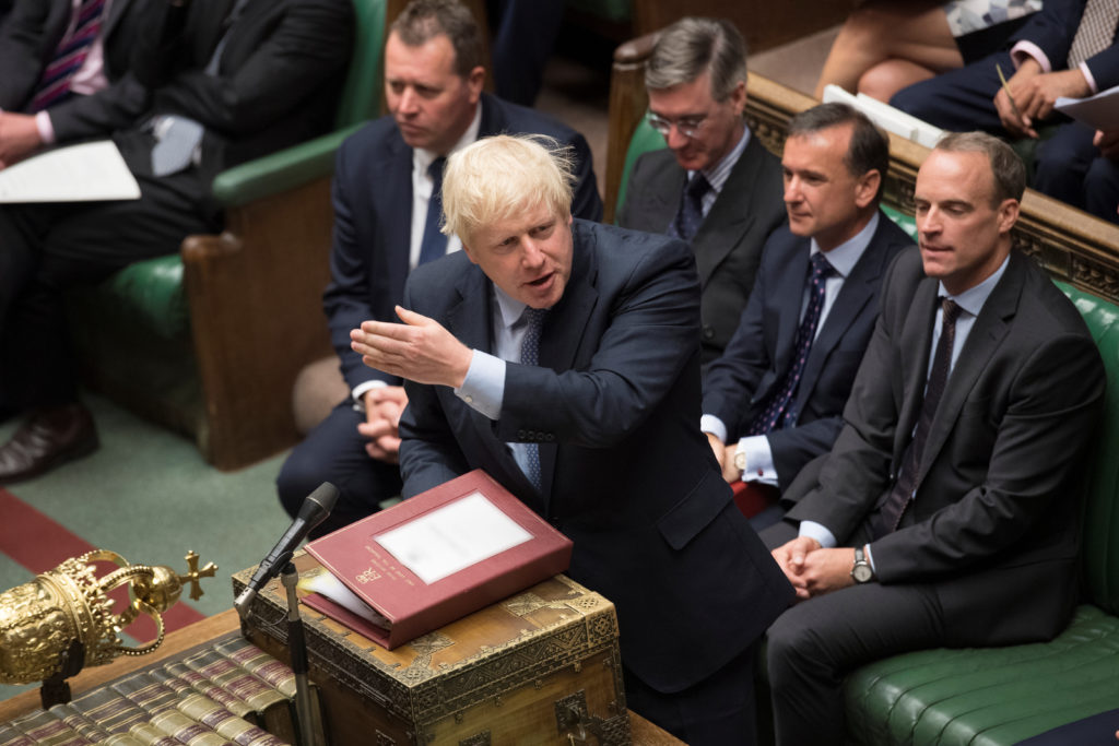 Britain's Prime Minister Boris Johnson speaks during Prime Minister's Questions session in the House of Commons in London,...