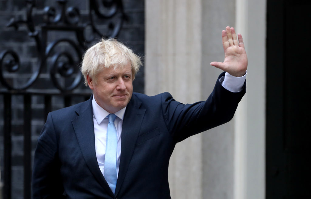 Britain's Prime Minister Boris Johnson is seen outside Downing Street, as he welcomes Israel's Prime Minister Benjamin Net...