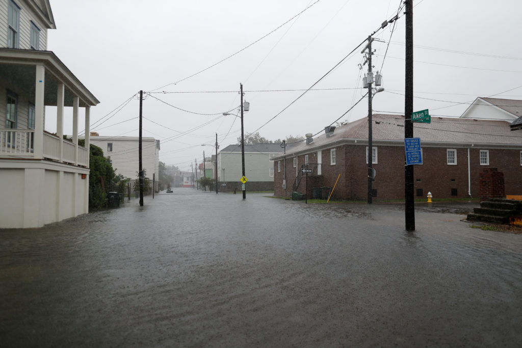 Aiken Street is flooded during Hurricane Dorian in Charleston, South Carolina, on September 5, 2019.  Photo by Randall Hill/Reuters