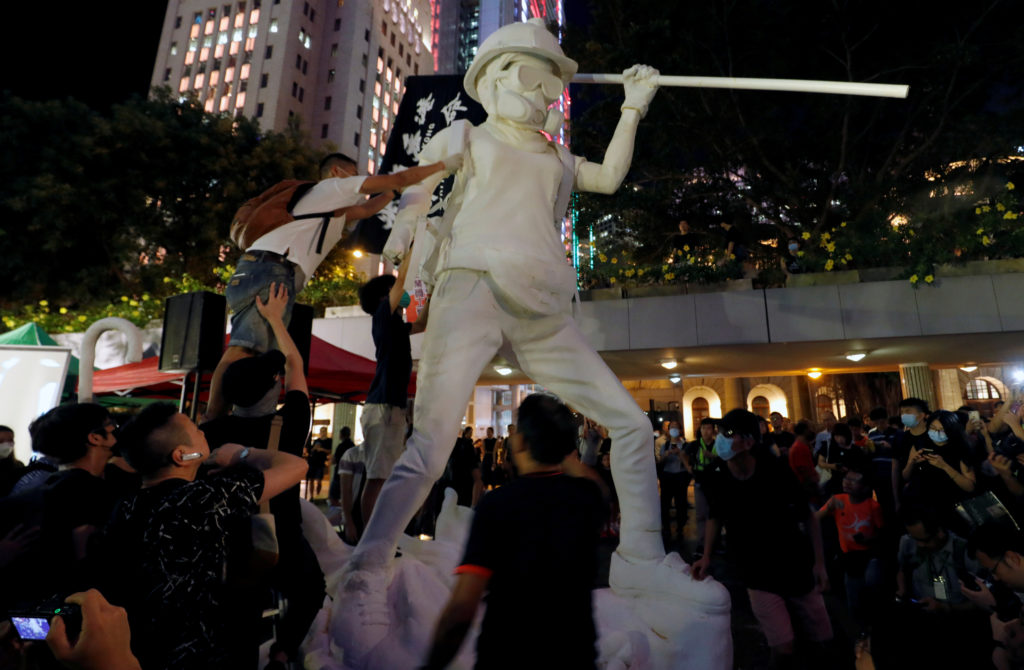 "Protesters erect the Lady Liberty Hong Kong statue during the ""No White Terror No Chinazi"" rally in Chater Garden, Hong Kong, China September 6, 2019. Photo by Amr Abdallah Dalsh/Reuters"