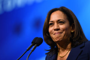 Democratic 2020 U.S. presidential candidate and U.S. Senator Kamala Harris (D-CA) takes the stage at the New Hampshire Democratic Party state convention in Manchester, New Hampshire, U.S. September 7, 2019. Photo by Gretchen Ertl/Reuters